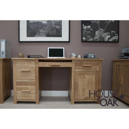 Opus Solid Oak Large Computer Desk