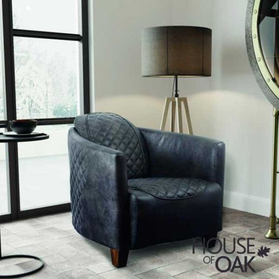 Triumph Occasional Chair in Grey Leather
