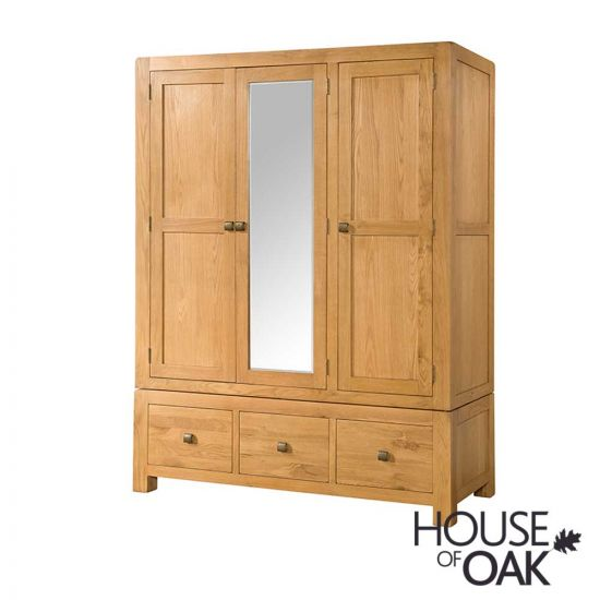Wiltshire Oak Triple Wardrobe with 3 Drawers and Mirror