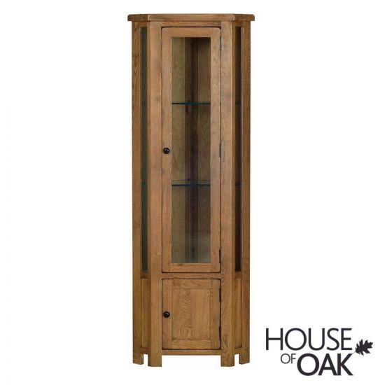 Farmhouse Oak Corner Display Cabinet