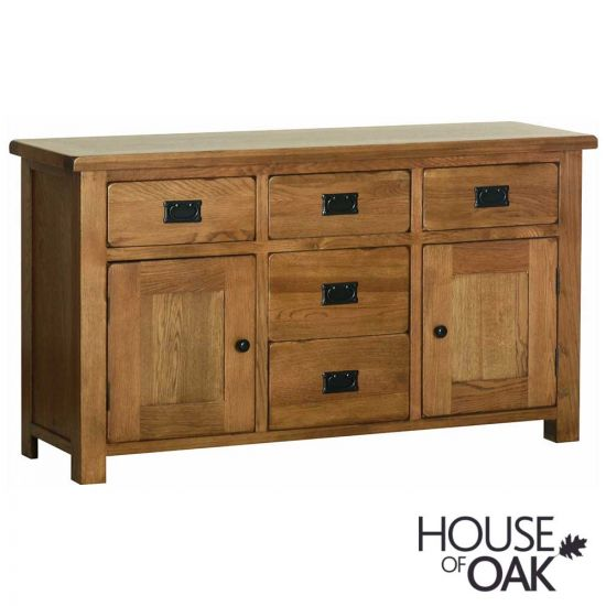 Farmhouse Oak 5 Drawer 2 Door Sideboard