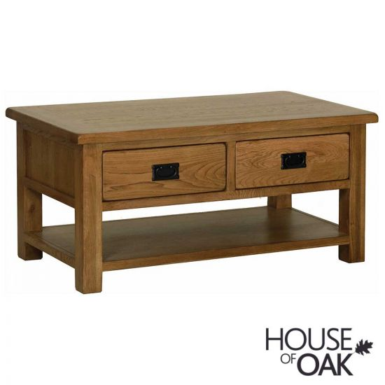 Farmhouse Oak Coffee Table with Drawers