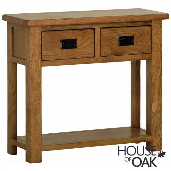 Farmhouse Oak Hall Table with 2 Drawers