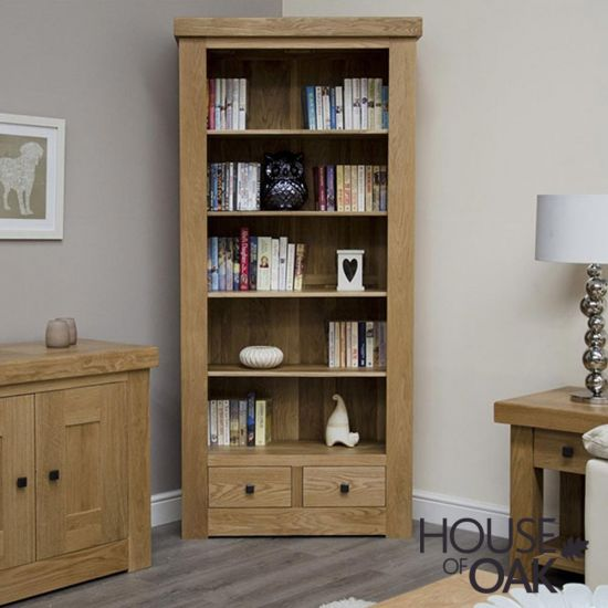 Manor Oak Large Bookcase with Drawers