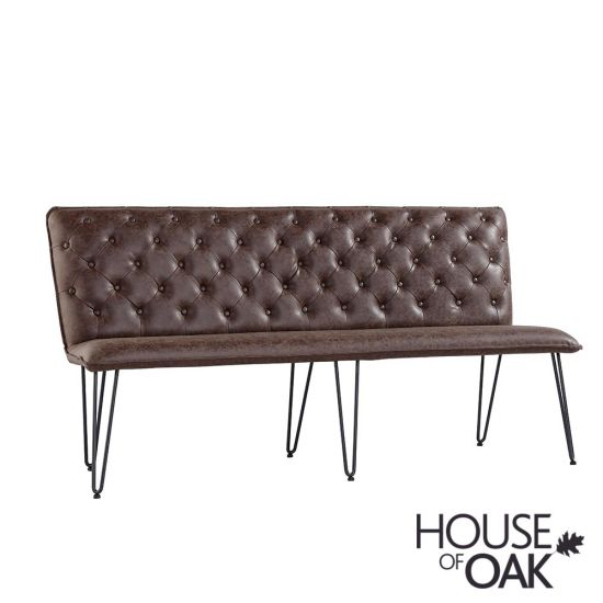 180cm Studded Back Bench in Brown