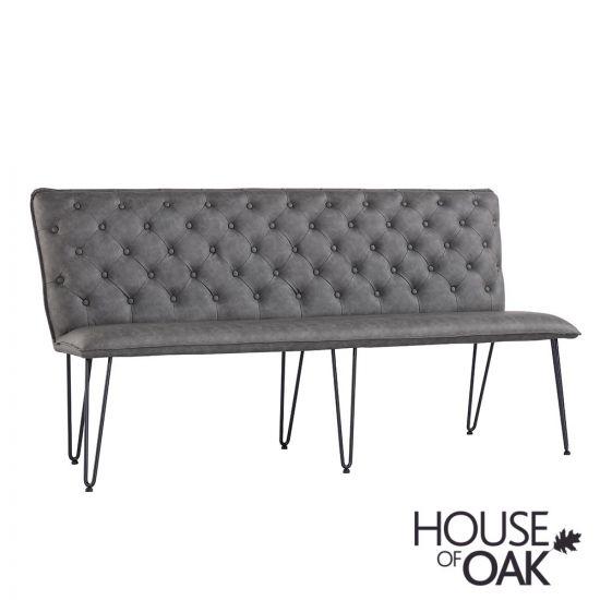 180cm Studded Back Bench in Grey