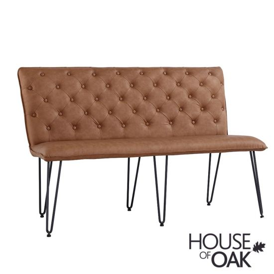 140cm Studded Back Bench in Tan