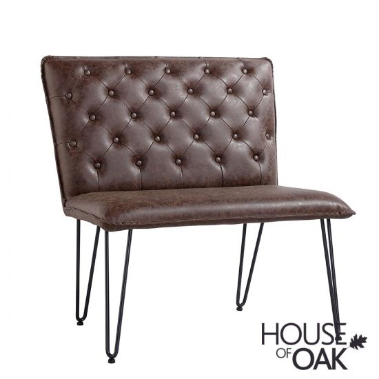 90cm Studded Back Bench in Brown