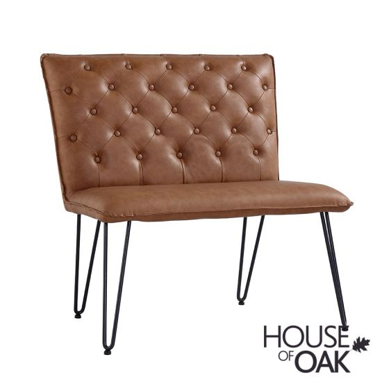 90cm Studded Back Bench in Tan
