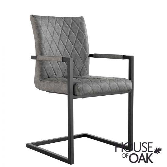 Parquet Oak Diamond Stitch Cantilever Carver Chair in Grey