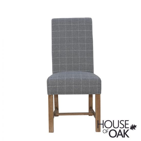 Chatsworth Oak Fabric Dining Chair in Grey Check