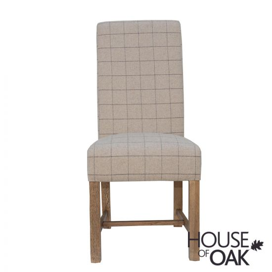 Chatsworth Oak Fabric Dining Chair in Natural Check