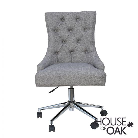 Office Chair with Curved Button Back in Light Grey