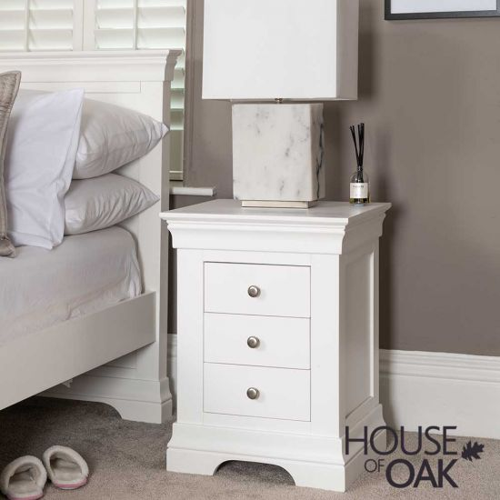 Chester White 3 Drawer Bedside Cabinet