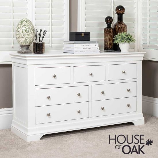 Chester White 3 Over 4 Wide Chest of Drawers