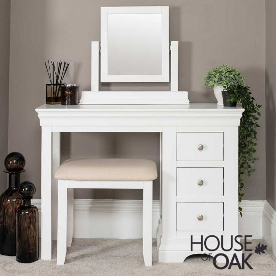 Chester White Dressing Table with Stool and Mirror