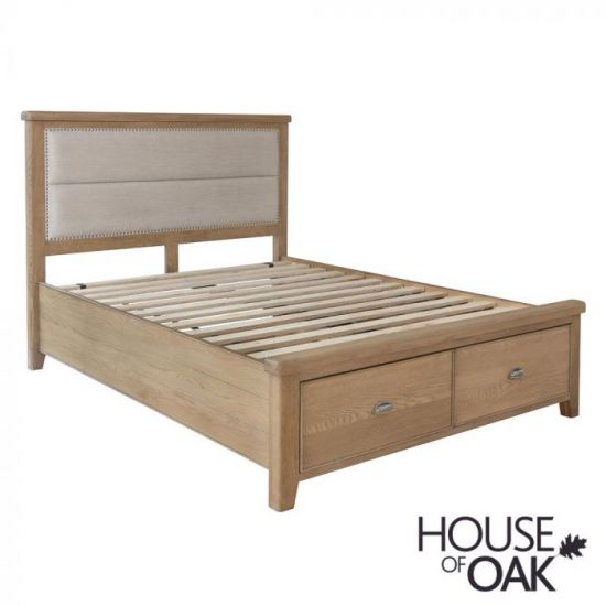 Chatsworth Oak King Size Bed With Fabric Headboard and 2-Drawer Footboard
