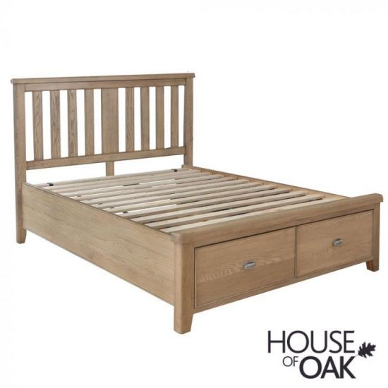 Chatsworth Oak Bed With Slatted Wooden Headboard and 2-Drawer Footboard-4ft 6ins