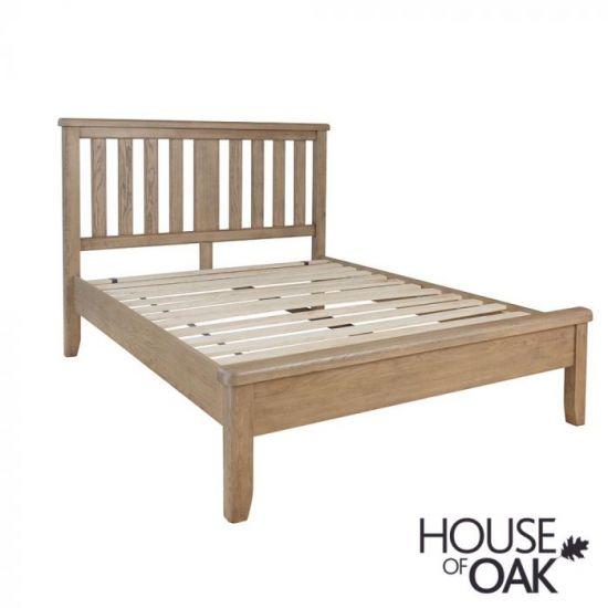 Chatsworth Oak Double Bed With Slatted Wooden Headboard
