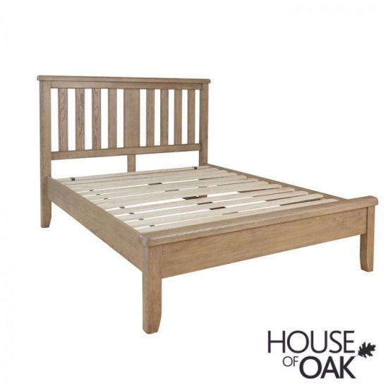 Chatsworth Oak Super King Size Bed With Slatted Wooden Headboard
