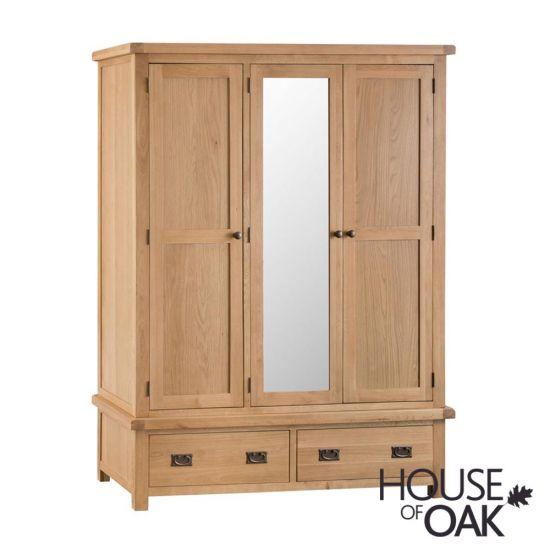 Harewood Oak 3 Door Wardrobe With Mirror