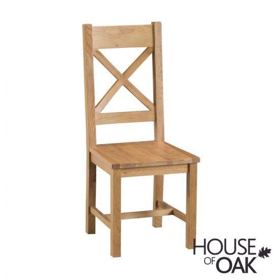Harewood Oak Cross Back Chair Wooden Seat