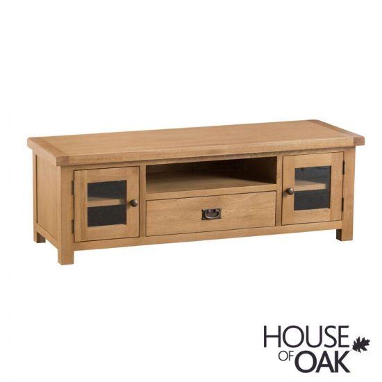 Harewood Oak Large TV Unit With Glazed Doors