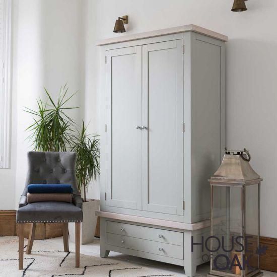 Ella Chalked Oak & Misty Grey - Double Wardrobe With Drawers