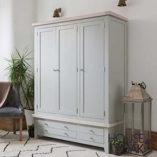 Ella Chalked Oak & Misty Grey - Triple Wardrobe With Drawers