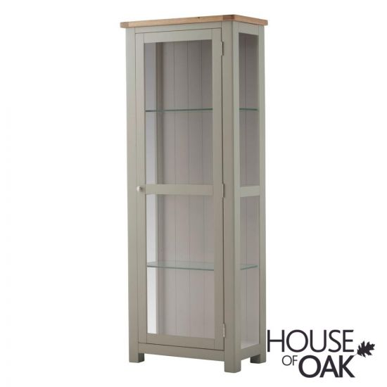 Portman Painted Glass Display Cabinet in Stone Grey