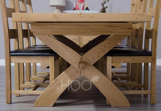 Deluxe Oak X-Leg Extending Dining Table