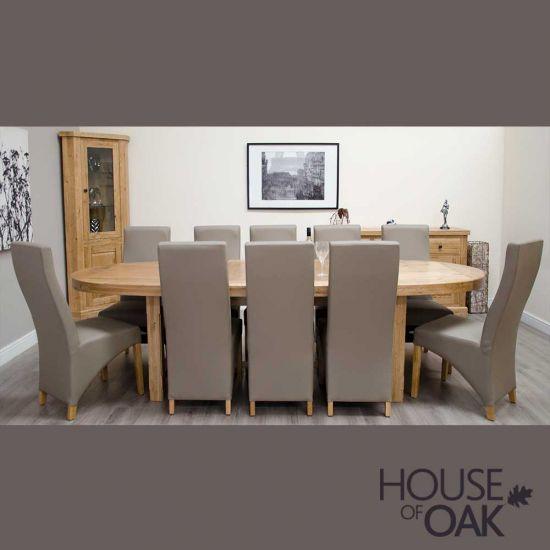 Deluxe Oak Super Oval Extending Table