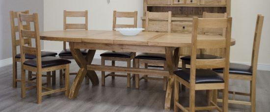 Chatsworth Oak X Leg Oval Dining Table