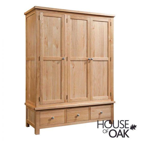 Keswick Oak Triple Wardrobe with 3 Drawers