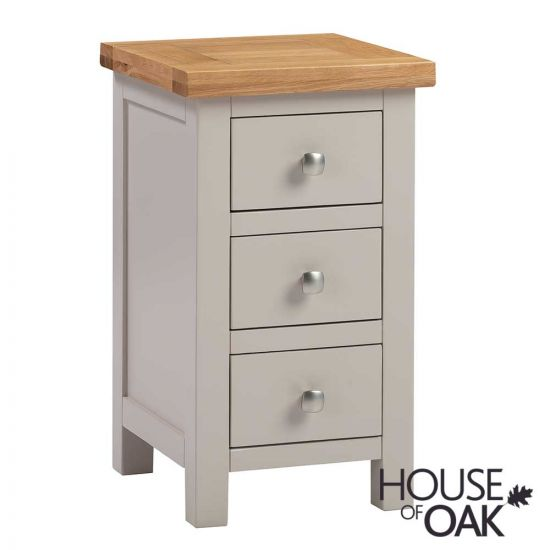 Keswick in Putty Compact 3 Drawer Bedside Cabinet