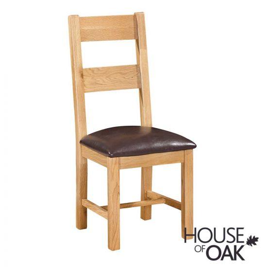 Keswick Oak Ladderback Chair with Dark Brown Seat Pad