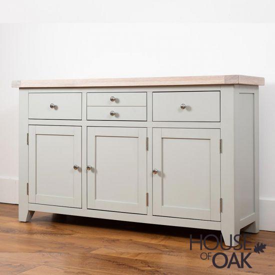 Ella Chalked Oak & Misty Grey - 3 Door 3 Drawer Sideboard