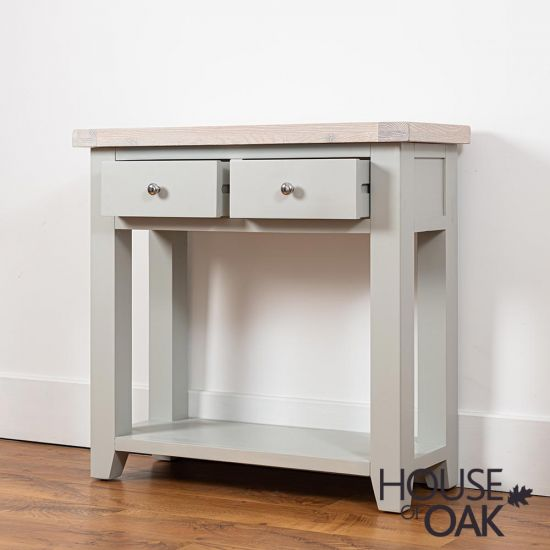 Ella Chalked Oak & Misty Grey - 2 Drawer Console Table