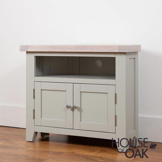 Ella Chalked Oak & Misty Grey - Corner TV Unit