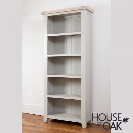 Ella Chalked Oak & Misty Grey - Large Bookcase