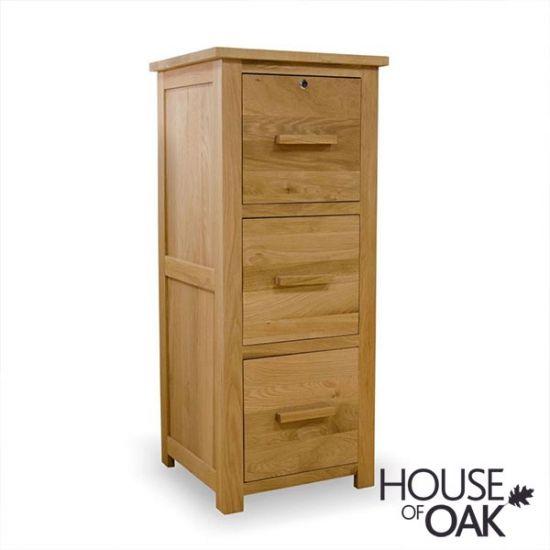 Opus Solid Oak 3 Drawer Filing Cabinet