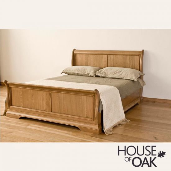 Paris Solid Oak 5FT King Size Sleigh Bed