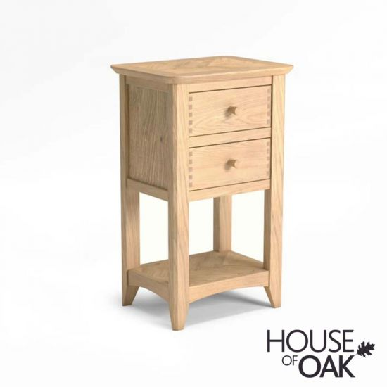 Malmo Oak Lamp Table With 2 Drawers