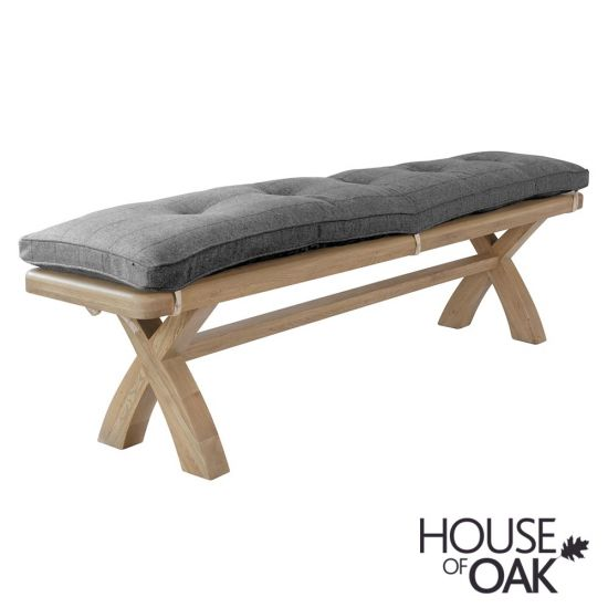 Chatsworth Oak 2 Metre Bench  with Cushion in Grey Check