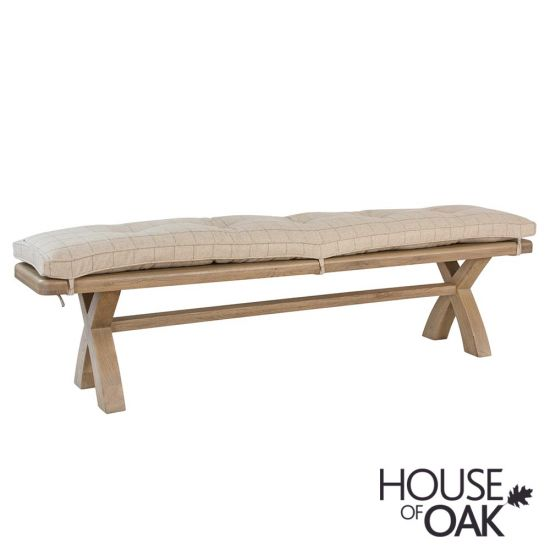 Chatsworth Oak 2 Metre Bench with Cushion in Natural Check