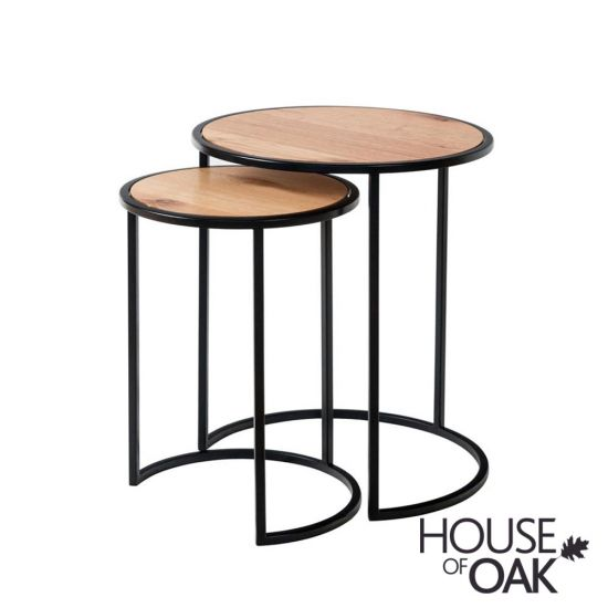 Forged Oak Round Nest of 2 Tables