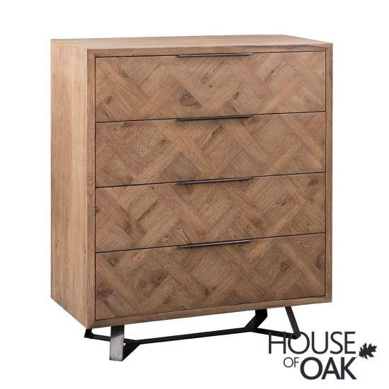 Parquet Oak 4 Drawer Chest