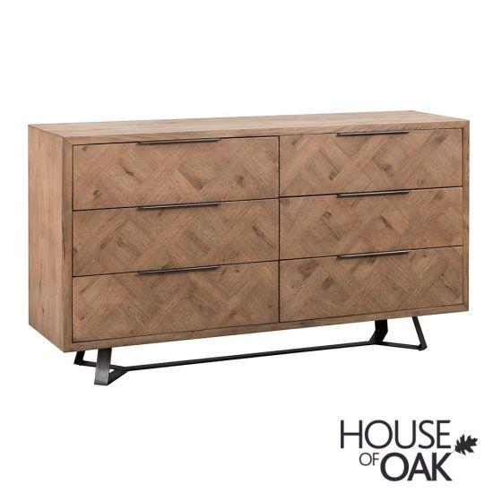 Parquet Oak 6 Drawer Chest