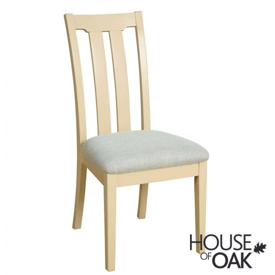 Ambleside Slat Back Dining Chair in Ivory with Grey Fabric Seat Pad
