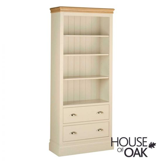 Ambleside Tall Bookcase With Drawers in Ivory